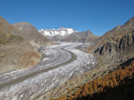 aletsch: Autumn Scenery At The Aletschgletscher Stock Photo