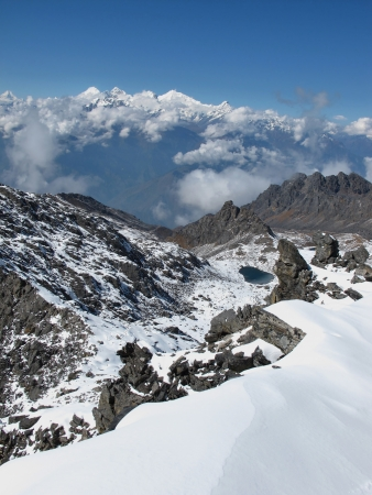 View From Surya Peak, High Mountain in The Himalayas photo