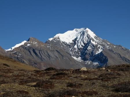 snowcapped: Snowcapped Pisang Peak, Nepal