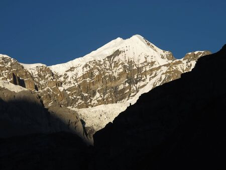 in high mountain: High Mountain Peak In The Annapurna Conservation Area