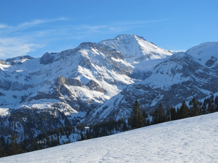 saanenland: Snow Covered Mountain In The Saanenland Stock Photo
