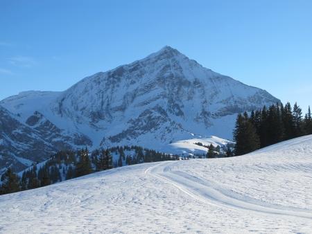 spitzhorn: Winterlandscape In The Saanenland Stock Photo