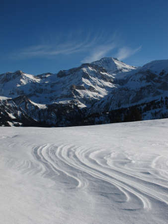 saanenland: Wildstrubel And Snow Shaped By Wind Stock Photo