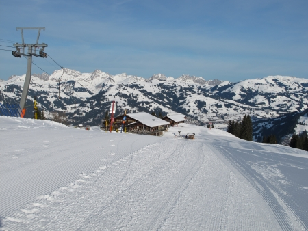 canton berne: Summit Station Of The Wispile Ski Lift, Gstaad Stock Photo