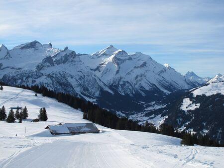 sledging: Percorso Slitta Vicino Gstaad, Bernese Oberland Archivio Fotografico