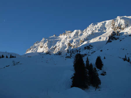 sargans: Early Morning In The Pizol Ski Area Stock Photo