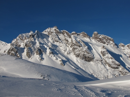 sargans: Snow Landscape And Snow Covered Mountain