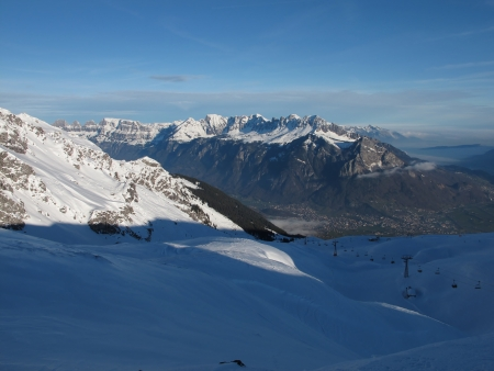sargans: Pizol Skiing Region, View Towards Sargans Stock Photo