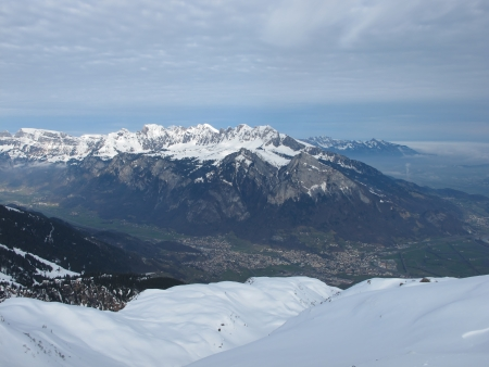 sargans: Distant View Of Sargans, Snow Capped Mountains