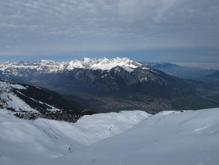 sargans: Sargans And Snow Capped Mountains