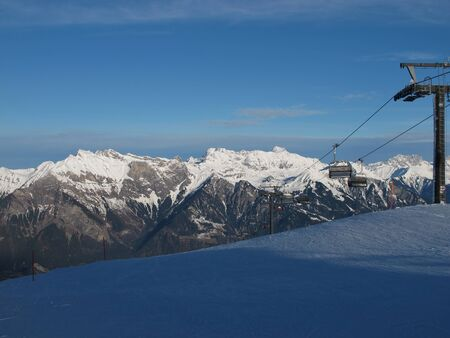 sargans: Chair Lift In The Swiss Alps Stock Photo