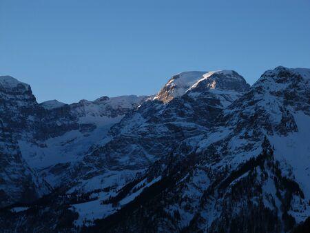 High mountain named Toedi at sunrise Stock Photo - 17604124