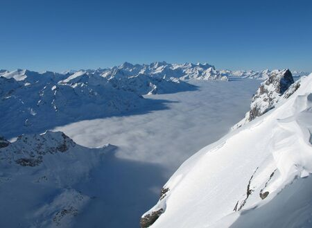monch: Beautiful sea of fog and mountain panorama, view from the Titlis