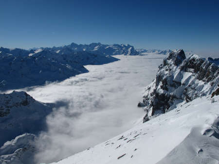 eiger: Above the fog, view from the Titlis towards Eiger, Monch snd Jungfrau