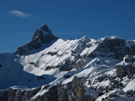 glarus: Mountain peak in Glarus Canton, winter