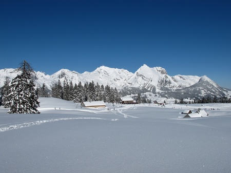 Beautiful winter lanscape in the Toggenburg, Mt  Saentis photo