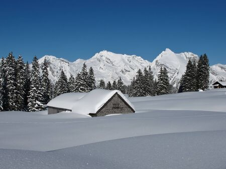Snow covered hut, trees and Mt  Saentis photo