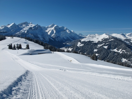 gstaad: High mountains and sledging path near Gstaad