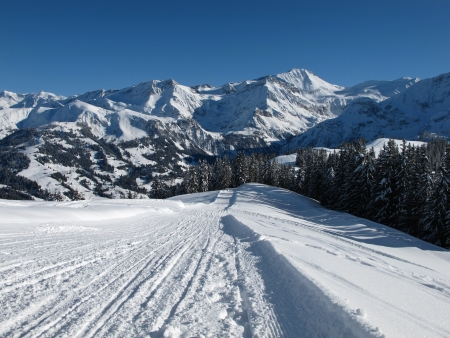 saanenland: View from the Wispile, mountain named Wildstrubel in the winter  Stock Photo
