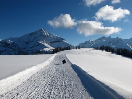 gstaad: Winter landscape near Gstaad, Spitzhorn Stock Photo