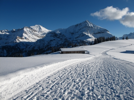 Mountains near Gstaad in the winter, Wispile