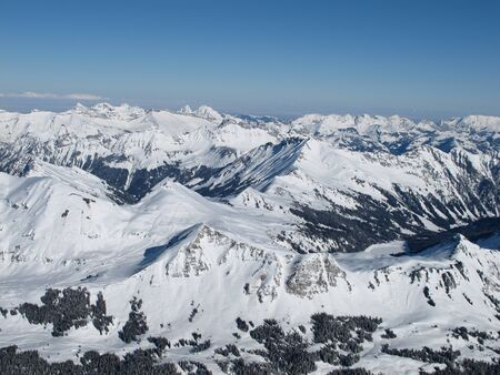 gstaad: Mountains of the Swiss Alps in winter