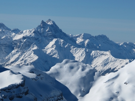 saanenland: View from Glacier De Diablerets, Mt  Blanc Stock Photo