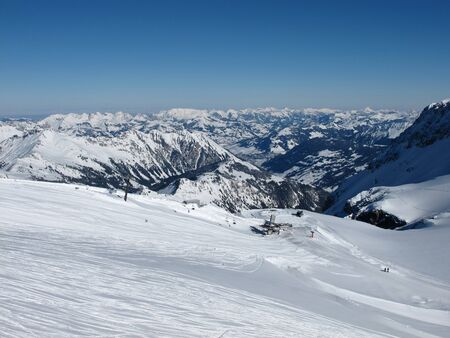 gstaad: View from the Glacier De Diablerets, chair lift Stock Photo
