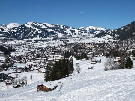 Ski tracks and famous village Gstaad photo