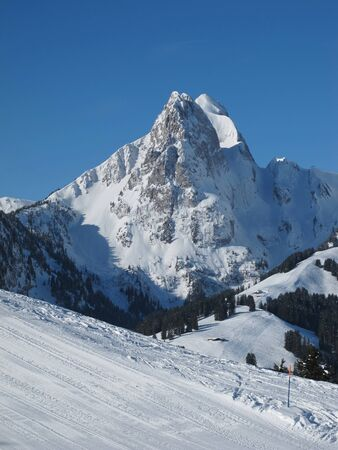 gstaad: Impressive mountain R�eblihorn, Gstaad Stock Photo