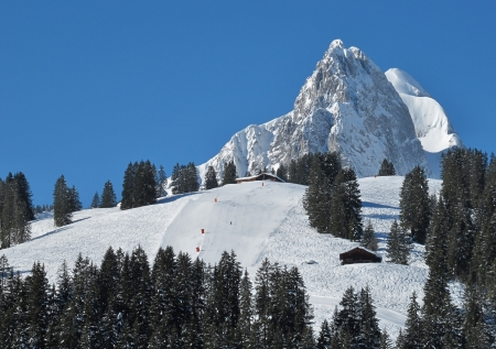 gstaad: Mountain peak and slope near Gstaad