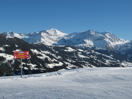 View from the Eggli ski area, Gstaad Stock Photo