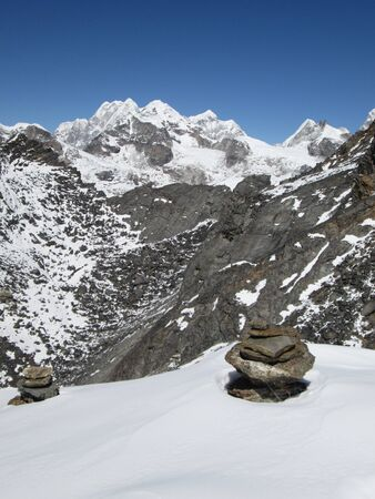 snow capped mountain: Beautiful snow capped mountain near Gokyo, Nepal