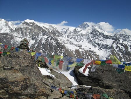 ri: View from Gokyo Ri, Mt Everest and prayer flags