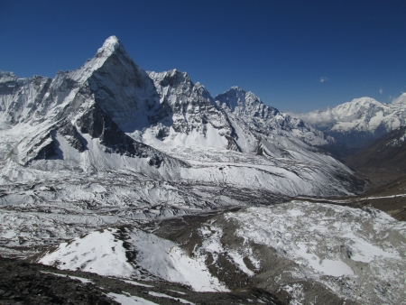 Ama Dablam and end of the Nuptse Glacier photo