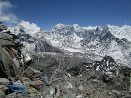 Island Peak and frozen lake Imja Tsho, view from Chhukhung Ri photo
