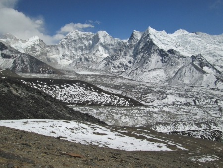 View from Chhukhung Ri, glacier and mountains photo