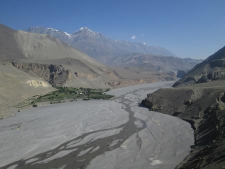 riverbed: Kali Gandaki River and village, view from Kagbeni