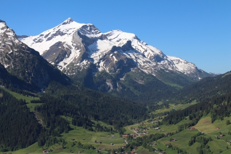 bernese oberland: Beautiful snow capped Oldenhorn, high mountain in the Bernese Oberland