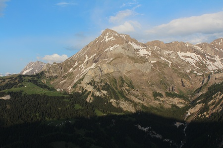 Spitzhorn in the evening, beautiful mountain near Gstaad Stock Photo