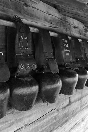 bernese oberland: Old traditional cow bells in the Bernese Oberland