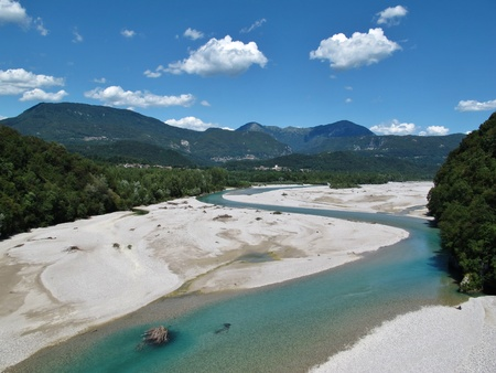 riverbed: Tagliamento, beautiful curved blue river in Italy