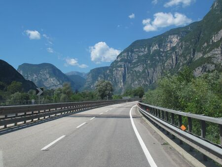 Highway in North Italy, mountains photo