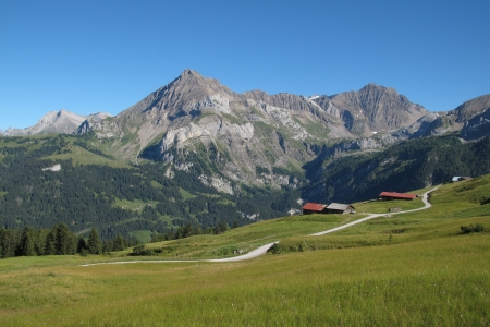 gstaad: Beautiful landscape in Gsteig bei Gstaad, Swiss Alps Stock Photo