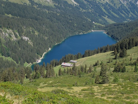 canton berne: Lake Arnensee and farm, Switzerland