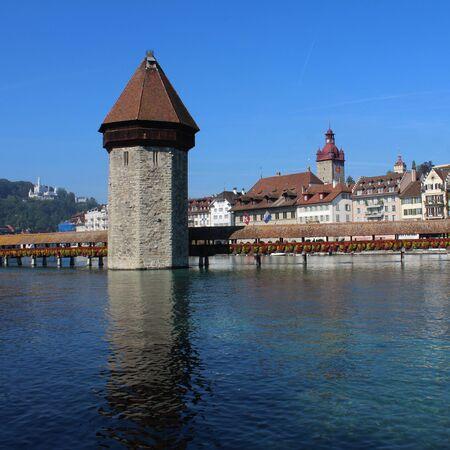 wody wieży: Water tower of the Kappelbrucke, Lucerne Zdjęcie Seryjne