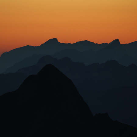 bernese oberland: Mountain peaks at sunset, Bernese Oberland
