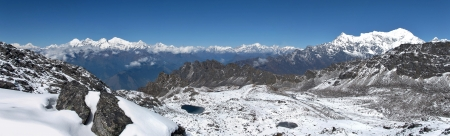 Mountains of the Himalayas, view from Surya Peak photo