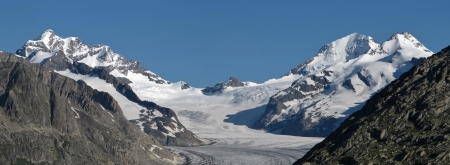 monch: Eiger, Monch and Jungfrau  View from Wallis Canton  Stock Photo