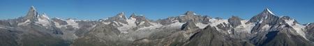 Beautiful panorama in Zermatt  Matterhorn, Zinalrothorn, Weisshorn